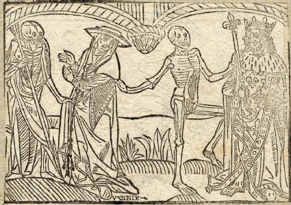 Recto: cardinal and king of The Dance of Death <br />Verso: unidentified Dance of Death scene