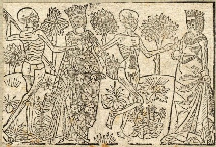 Recto: queen and duchess of the Dance of Death <br />Verso: unidentified Dance of Death scene