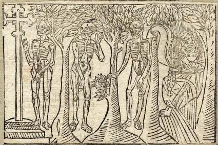 Recto: three dead of The Dance of Death <br />Verso: unidentified Dance of Death scene