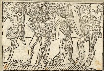Recto: halberdier and fool of the Dance of Death <br />Verso: unidentified Dance of Death scene
