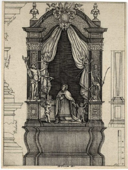 Private chapel design with allegories of Time and Death