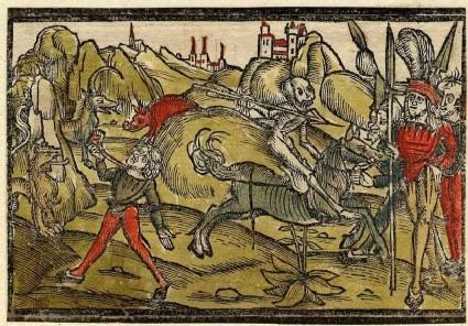 Death on horseback attacking warriors