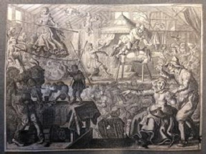 Interior of a circus with acrobats and clowns