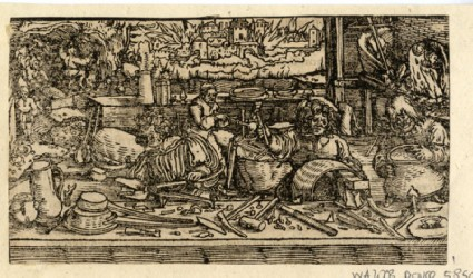 Unidentified fragment of a woodcut with letterpress