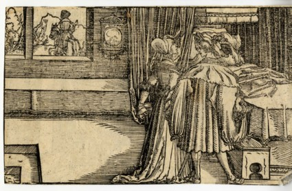 A man working as a blacksmith and threatening a woman with a knife