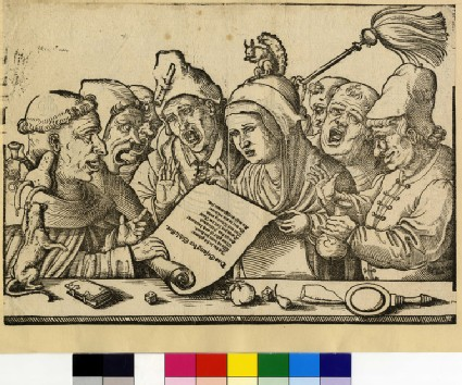 Recto: Monks and a nun singing<br />Verso: Design for a goblet