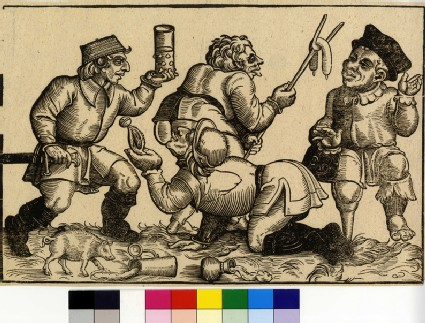 A man with a wooden leg being offered a sausage ny another one, a man licking another one's backside, a fourt man wusing a basket as hat