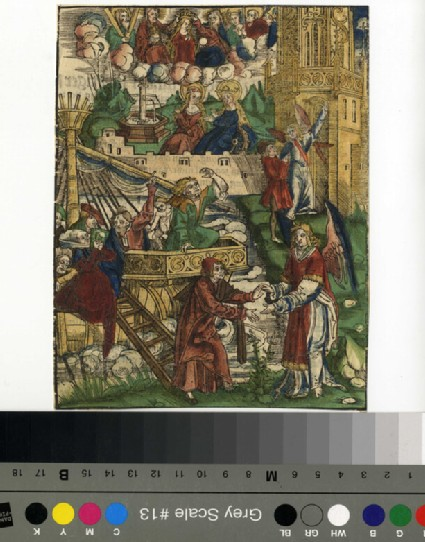 Recto: Unidentified scene from the Bible, possibly<br />Verso: Letterpress