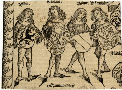 Four German noblemen presenting their coats of arms