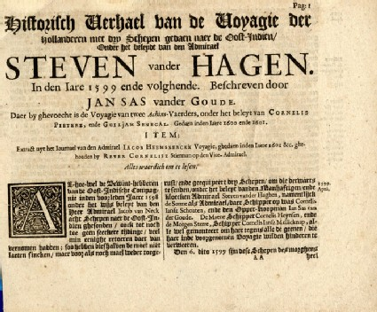 Page from Commelin's collection of voyages: Jan Sas' description of Admiral Steven van der Hagen's first voyage to the East Indies