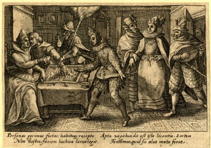 A man and a woman playing backgammon, others dressed up looking at them