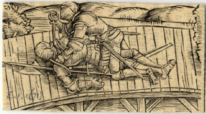 Two knights fighting on a bridge, the top killing the other