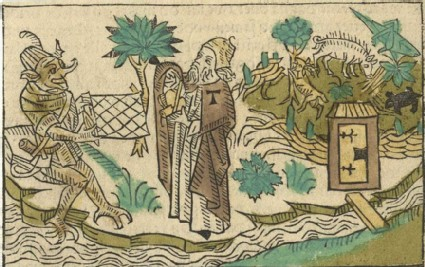Devil Tormenting Saint Anthony in His Garden