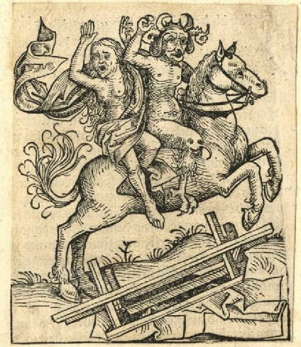 Devil and a woman on horseback