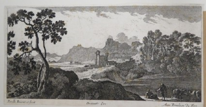Landscape with a small castle and Town beyond a causeway, Herdsmen lower right