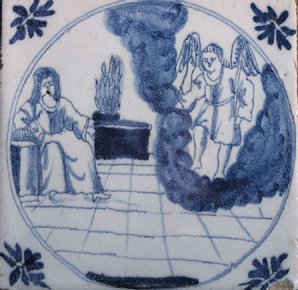 Tile with The Annunciation, Mary seated and Gabriel standing on clouds