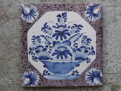 Tile with bowl of flowers