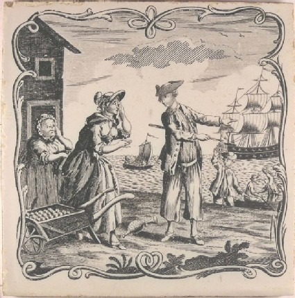 Tile with 'The Sailor's Farewell' of a sailor pointing to his ship, men bekoning in rowing boat, girl crying with wheelbarrow  and woman leaning on fence
