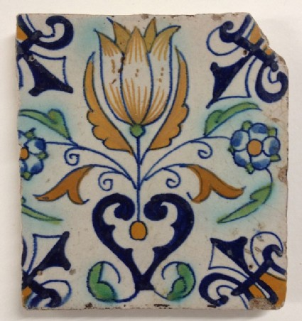 Tile with large yellow tulip flower