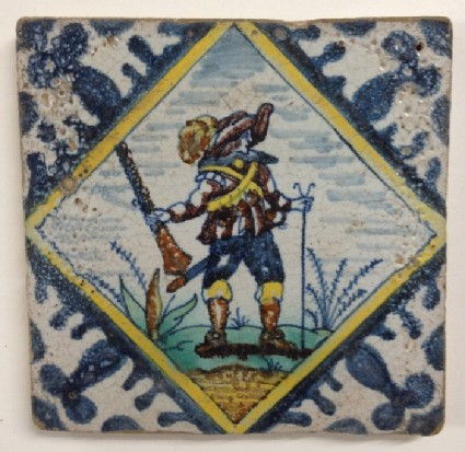 Tile with musketeer holding gun and staff within lozenge