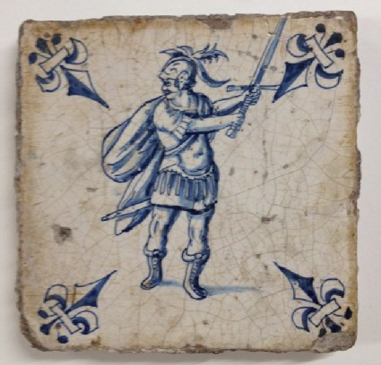 Tile with Roman soldier holding sword