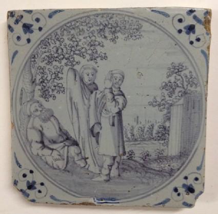 Tile with Shem, Japhet and Noah in garden