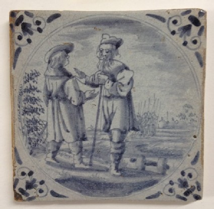 Tile with Abraham and Ephron with soldiers behind