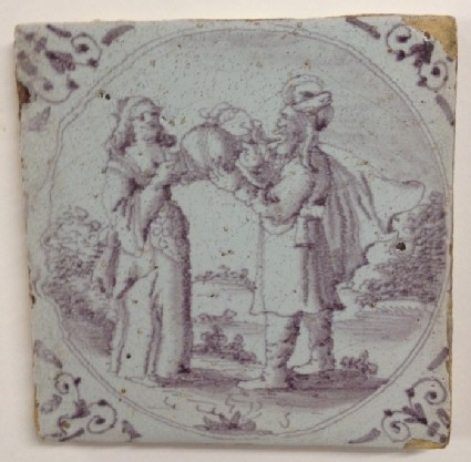 Tile with Rebecca giving Eliezer a drink