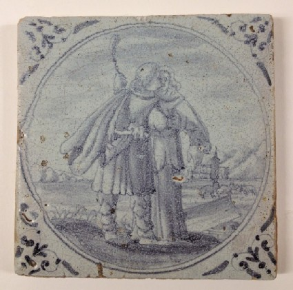 Tile with Jacob embracing Rachel with livestock and buildings in distance