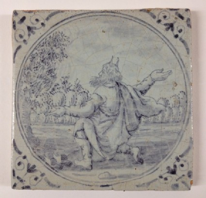 Tile with Moses kneeling before the burning bush