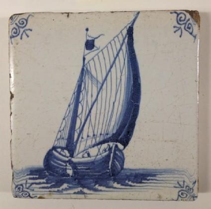 Tile with sailing ship