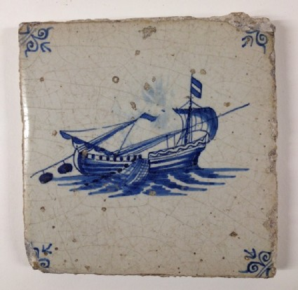 Tile with fishing boat, sails lowered and nets out