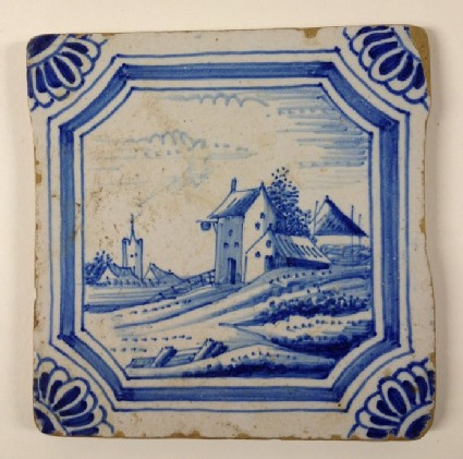 Tile with buildings and church in landscape