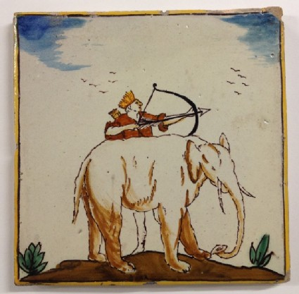 Tile with man wearing feathered crown, shooting an arrow from a bow, behind an elephant