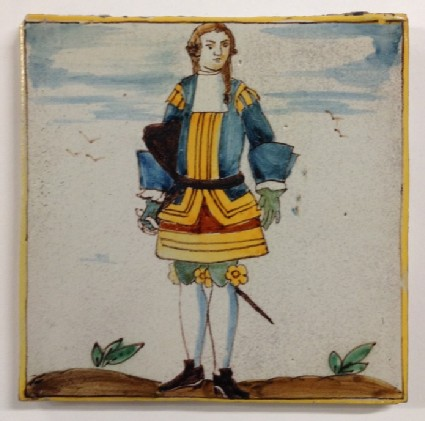 Tile with gentleman standing in uniform