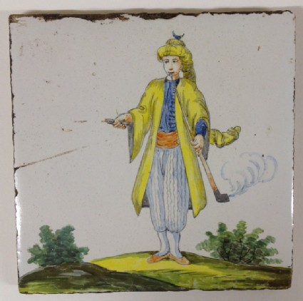 Tile with youth in Turkish dress