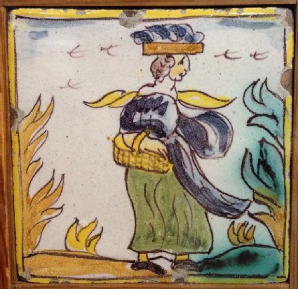 Tile with woman walking carrying basket with another on her head
