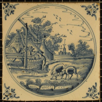 Tile with two pigs in a rural scene with man at a well, church and buildings in distance