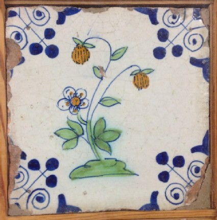 Tile with polychrome strawberry plant