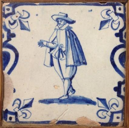 Tile with gentleman in short cloak