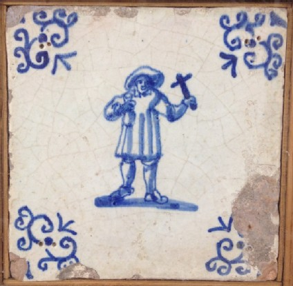 Tile with man holding cross
