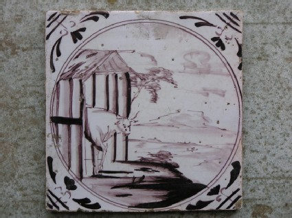 Tile with cow in a barn