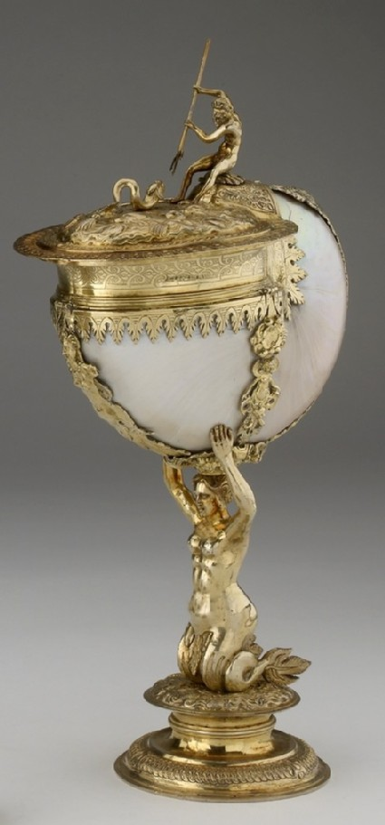 Mounted nautilus shell drinking cup