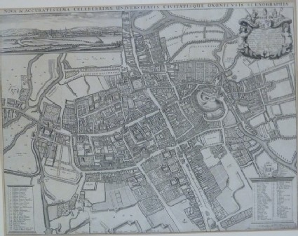 View of the University and City of Oxford, from 'Oxonia illustrata' (1675), with arms of Henry Compton, Bishop of Oxford