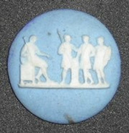 Circular medallion: Three soldiers before their seated leader