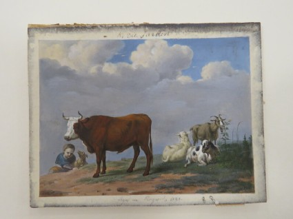 A landscape with cattle and a child with a dog