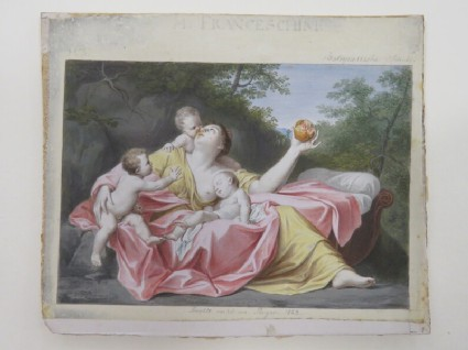 Charity holding a pomegranate