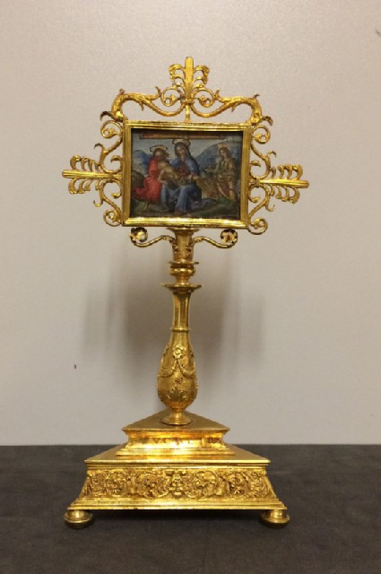 Reliquary of the Holy Cross with a gouache miniature painting depicting the Pieta