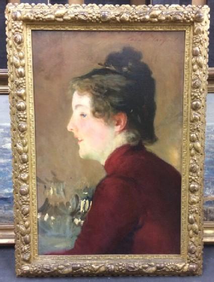Portrait profile of Violet Sargent in a red dress