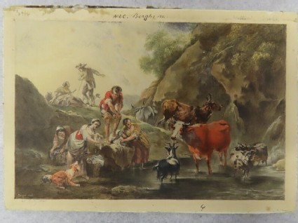 A shepherdess and a herd of animals at a mountain stream